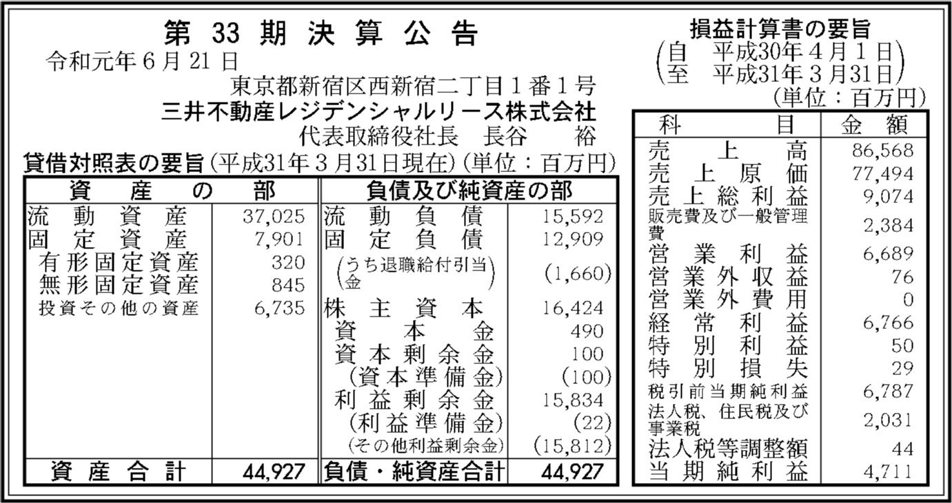 リース レジデンシャル 三井 不動産