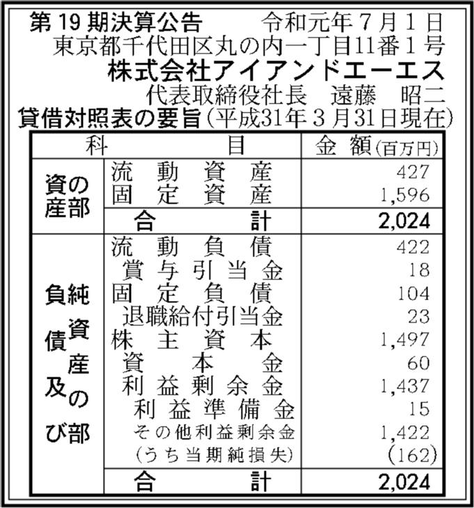 株式会社アイアンドエーエス 第19期決算公告 | 官報決算データベース