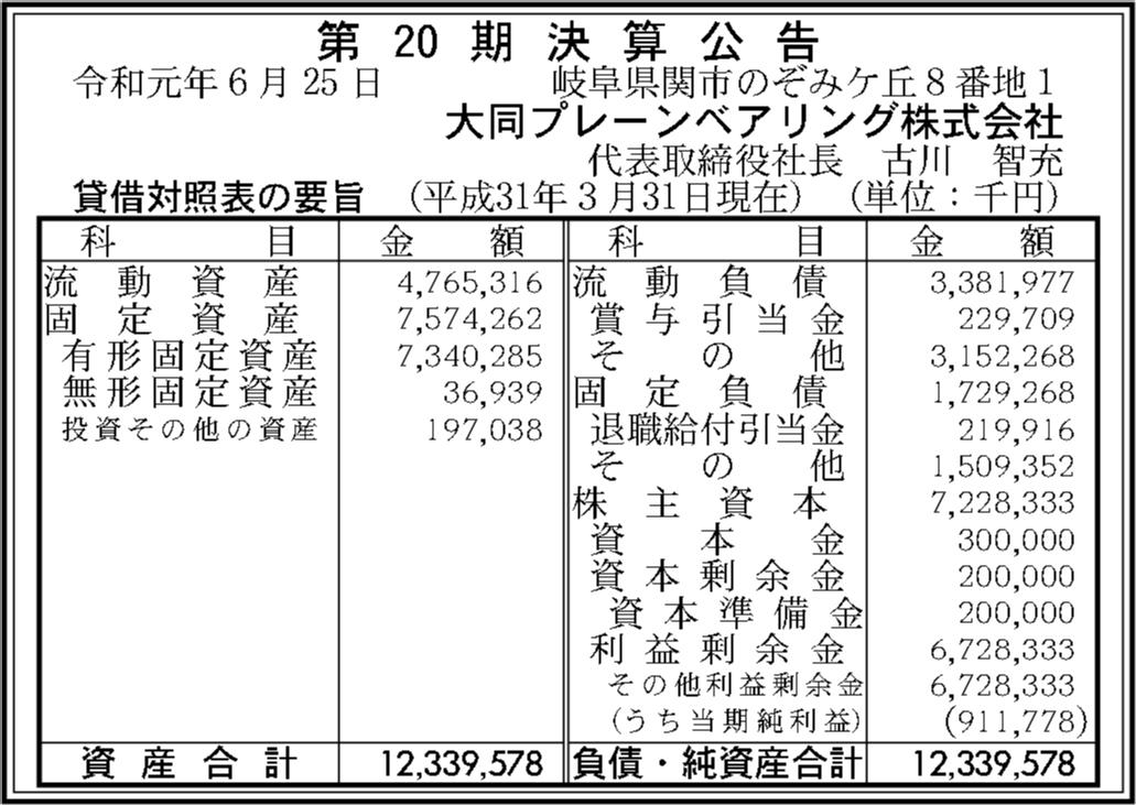 大同プレーンベアリング株式会社 第20期決算公告 | 官報決算 ...