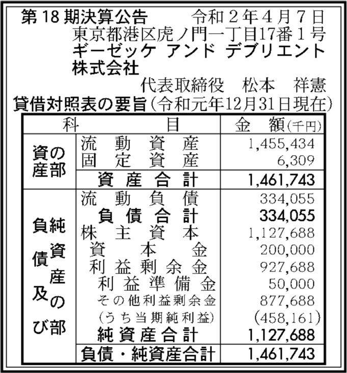 ギーゼッケアンドデブリエント株式会社 第18期決算公告 | 官報決算 ...