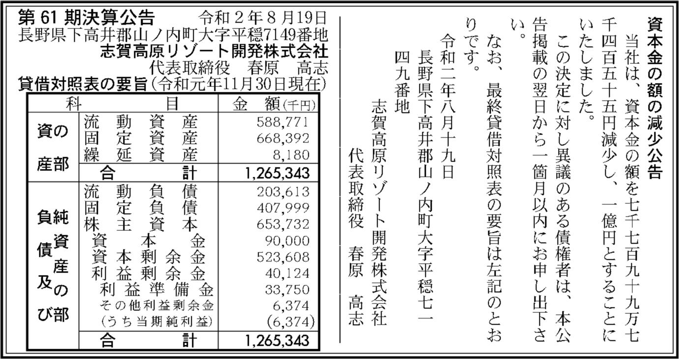 志賀高原リゾート開発株式会社 第61期決算公告 | 官報決算データベース