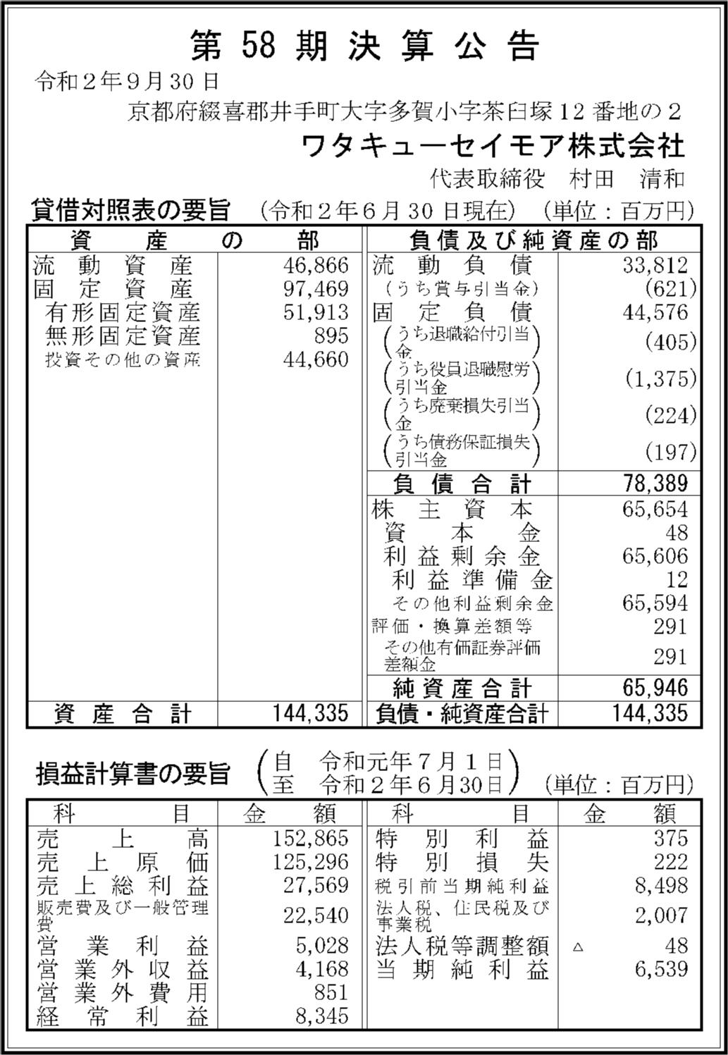 セイモア 会社 ワタキュー 株式