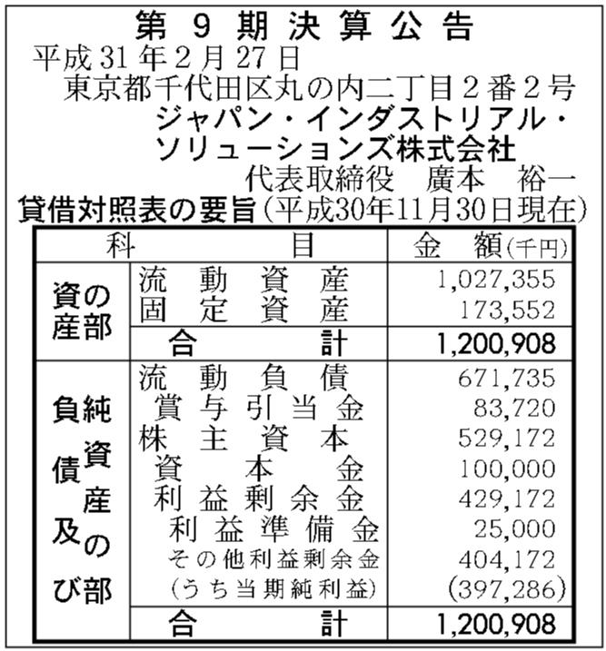 ジャパン インダストリアル ソリューションズ